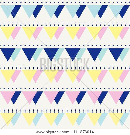 Seamless Vintage Abstract Pattern With Triangles In The Style Of 80s. Fashion Background In Mem