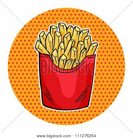 Vector French Fries In Red Paper Box, Pop Art Fast Food Fries Icon Design