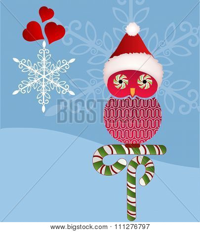 Christmas owl - candy cane eyes and snowflakes