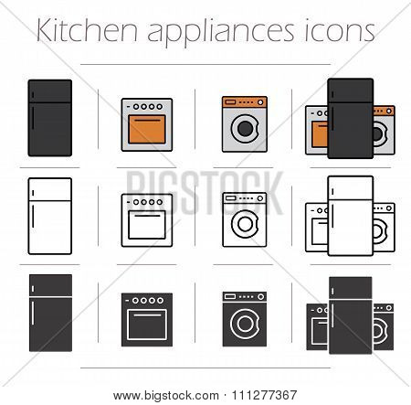 Kitchen appliances icons set