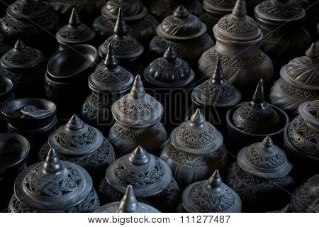 Stack Of Thai Clay Pottery Fine Art Clay Pottery Tradition Style With Beautiful Light