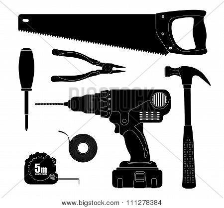Renovation tools silhouettes