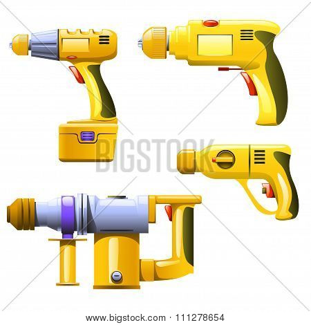 illustration of four different electric home tools