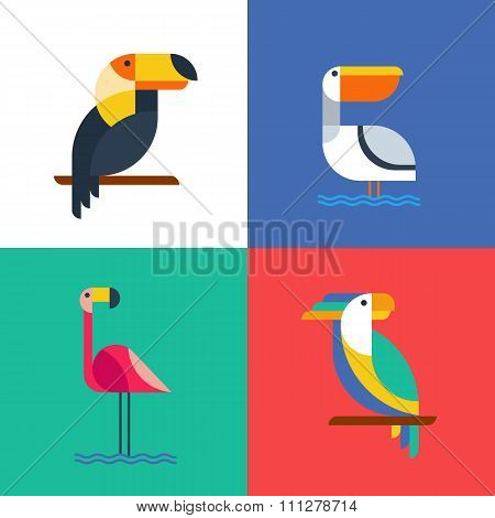 Exotic Tropical Birds Flat Style Logo Icons.
