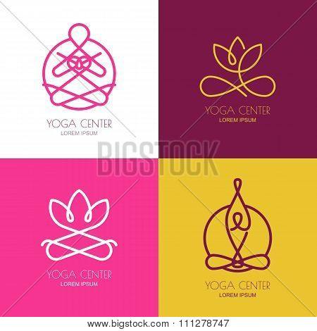 Yoga Outline Logo Design Elements. Set Of Vector Yoga Icons And Badges.