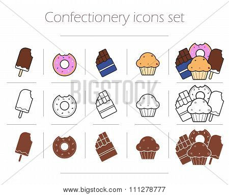 Confectionery icons set