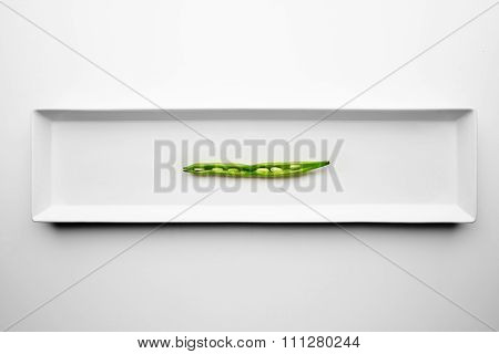 Green String Bean Isolated On White Plate