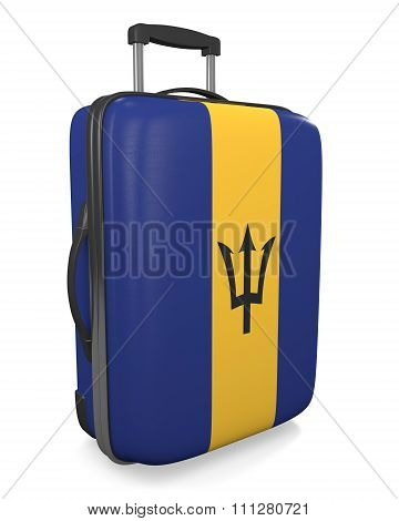 Barbados vacation destination concept of a flag painted travel suitcase