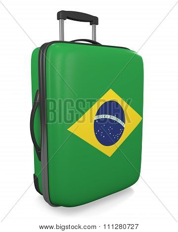 Brazil vacation destination concept of a flag painted travel suitcase