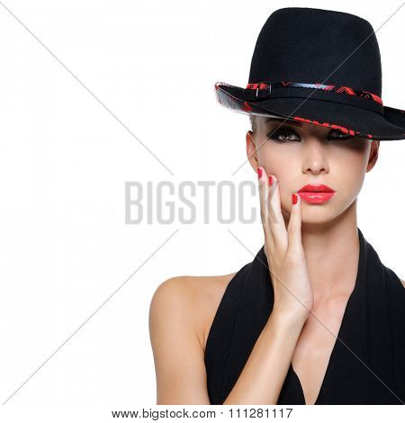 Glamour elegant sexy female with gorgeous black hat
