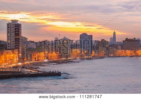 Sunset in Havana with a view of the seaside city skyline