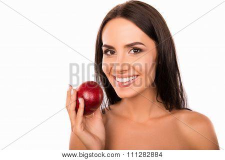 Cheerful Beautiful Healthy Girl Holding A Nectarine