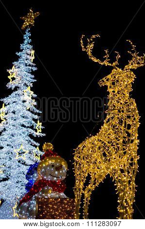 Deer With Snowman And Christmas Tree Decoration Lights