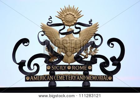 Nettuno - April 06: American Symbol On Main Entrance Of The American Military Cemetery Of Nettuno In