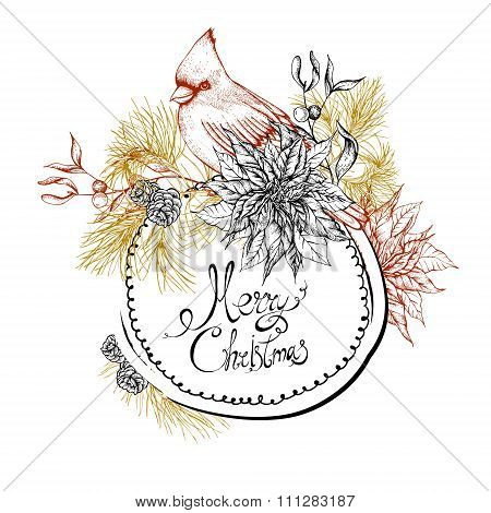 Christmas vintage floral greeting card