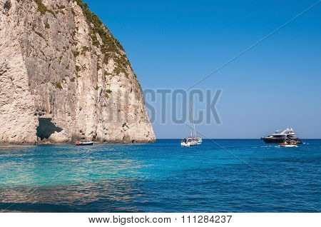 Yachts Moored At The Navagio Beach On Zakynthos Island