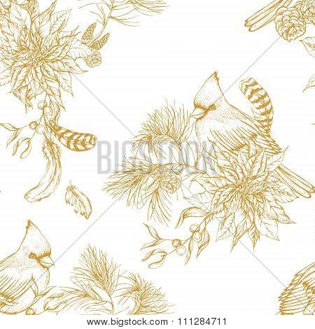 Christmas vintage floral seamless background