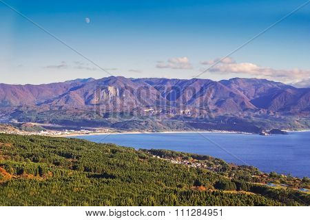 Landscape View Of Mountain And Japan Sea