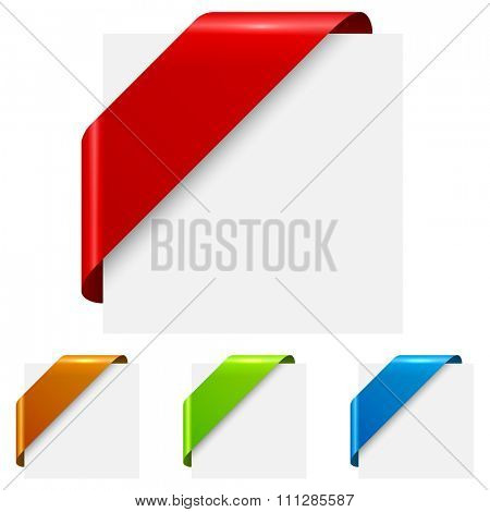 Abstract color corner ribbon tags isolated on white background.