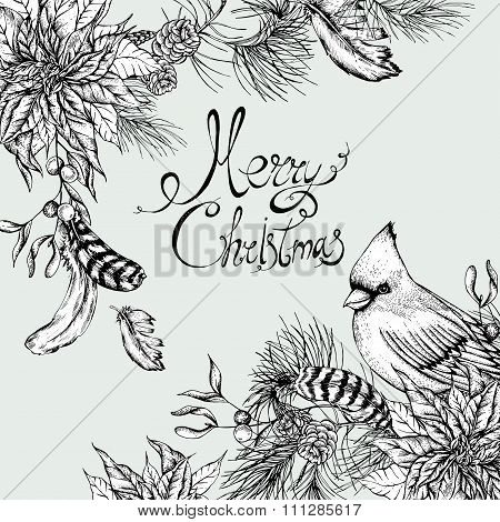 Monochrome Christmas vintage floral greeting card