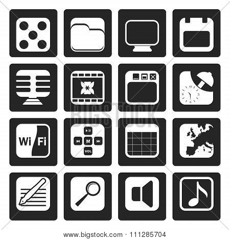 Black Phone Performance, Internet and Office Icons