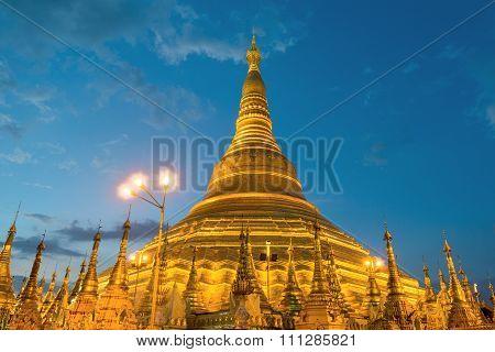 Yangon, Myanmar View Of Shwedagon Pagoda At Night.