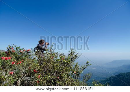 Tourists taking photos at Phu Luang Wildlife Sanctuary in Loei province