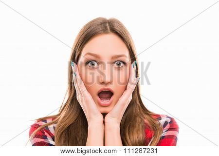 Portrait Of Surprised Girl With Raised Eyebrows