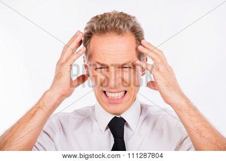 Handsome Depressed Businessman In Business Suit  In Rage