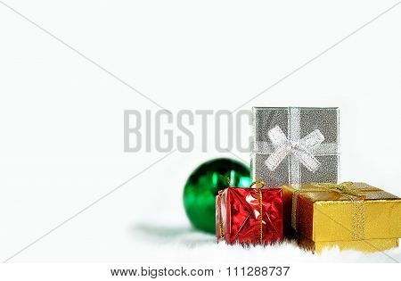 Gold red silver Gift box and green mirror ball