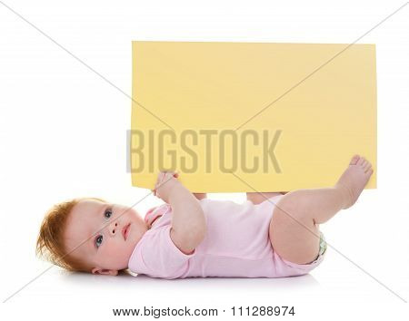 Baby Girl Keeps A Signpost Blank
