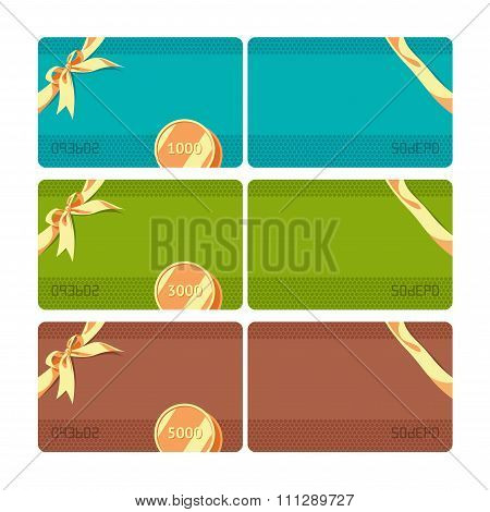 Gift card with 3 values. Color