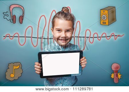 teen girl smiling holding a plate with a white screen sound wave