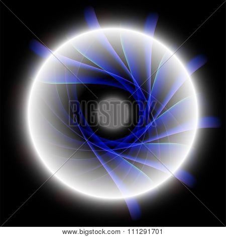 Blue radial background on black background