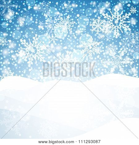 Winter Background With Snow. Christmas Snow Banner. Vector