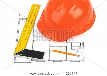 House plan and helmet isolated on white background