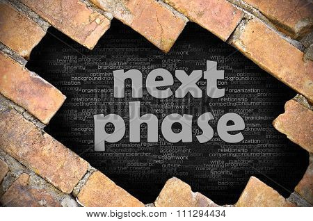 Hole In The Brick Wall With Word Next Phase