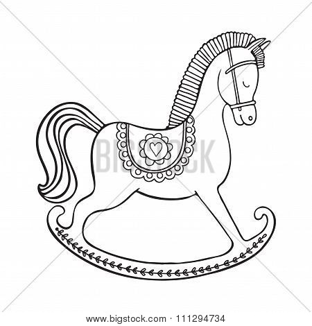 Rocking horse on white background