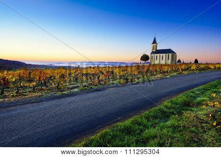 Church, Vineyards And Road Of Saint Laurent D'oingt During Sunrise, Beaujolais, France