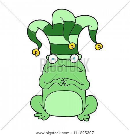 freehand drawn cartoon frog wearing jester hat