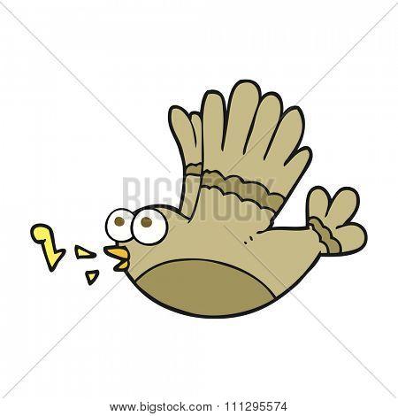 freehand drawn cartoon singing bird