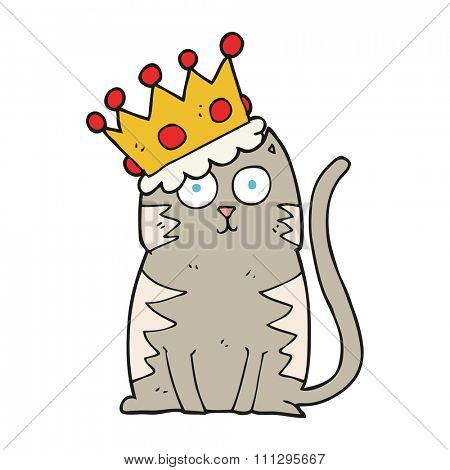 freehand drawn cartoon cat with crown