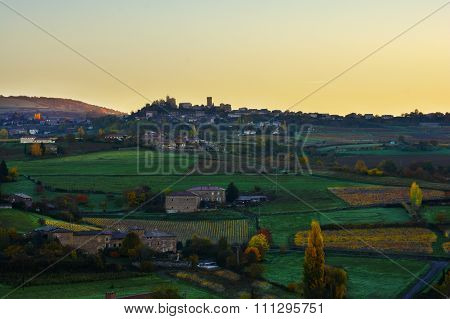 Oingt Village At Sunrise Time, Beaujolais, France
