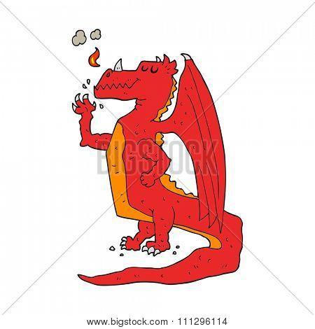 freehand drawn cartoon happy dragon