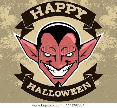 Devil Head Halloween Badge