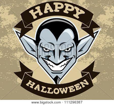 Dracula Head Halloween Badge