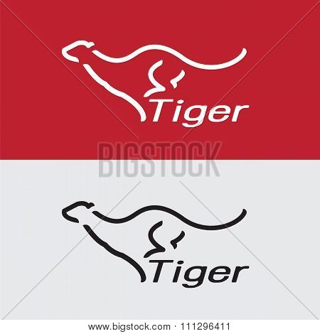 Vector Image Of An Tiger Design On White Background And Red Background, Logo, Symbol