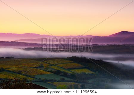 Mountains Of Beaujolais With First Morning Lights, France