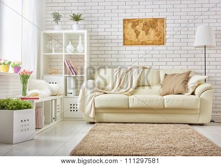 modern living room in bright colors