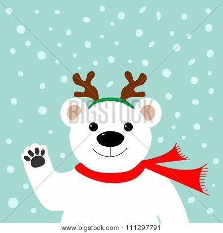 Big White Polar Bear In Deer Horn And Scarf, Waving Hand Paw.  Merry Christmas Greeting Card. Blue B